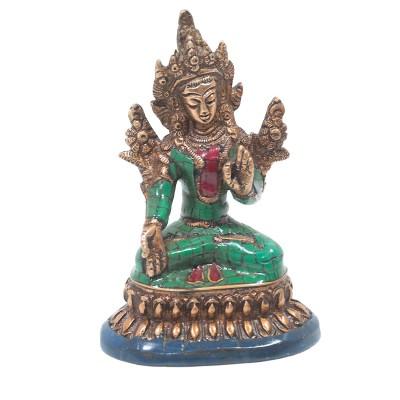 Figura de Tara de bronce y piedras
