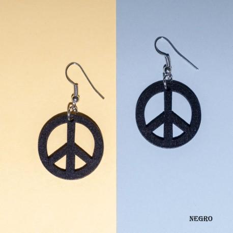 Pendientes madera simbolo paz PE521TH